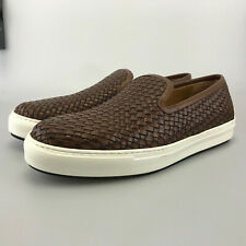 Massimo Dutti Extra Light Slip On Sneakers Woven Leather Brown Size 44 EUR 11 US