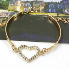 New Fashion Women Cute Gold Crystal Rhinestone Love Heart Bangle Jewelry