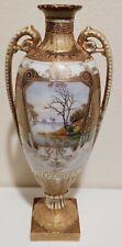 Antique Nippon (maple mark) Gold Double Handled Vase/Urn w/Lake Scenes on Base