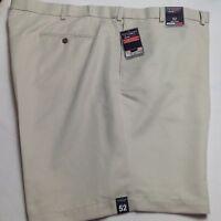 Roundtree &Yorke Men Travel Smart Shorts Flat Microfiber Expander 52 Stone $46