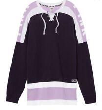 Victoria's Secret Pink New Lace-Up Varsity Crew Purple XSmall NWT