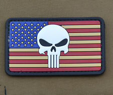 """PVC / Rubber Patch """"Punisher USA / American Flag"""" with VELCRO® brand hook"""