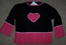 NWT Mulberribush Black/PINK HEART Cotton Sweater 2/2T Toddler Girls ADORABLE