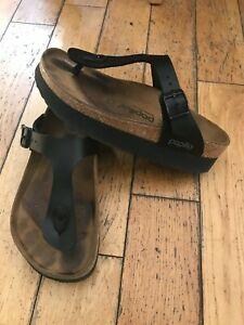 Birkenstock Papilleo Gizeh black toe post sandals size 36