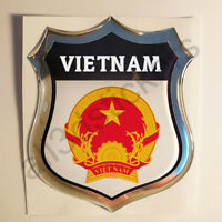 Sticker Vietnam Emblem Coat of Arms Shield 3D Resin Domed Gel Vinyl Decal Car