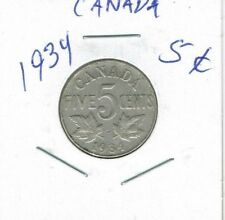 1934 Canadian Circulated  George V Nickel Five Cent Coin!
