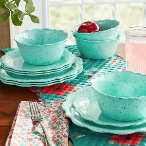 NEW Pioneer Woman Juliette 12-Piece Melamine Dinnerware Set - Teal - Plate, Bowl