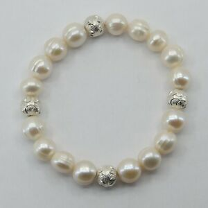 ARTISAN Pearl Stretch Bracelet with Sterling Silver Beads #9