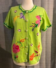 Quacker Factory Lime Green Short Sleeve Hummingbird Sweater Medium NWT