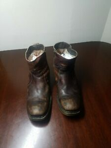 BED STU Distressed Men's Ankle Boots Brown Size Zip  (US 9)