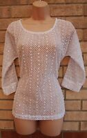 NEXT WHITE CROCHET KNIT LACE POM POM SILVER SEQUIN PARTY TUNIC TOP BLOUSE CAMI 8