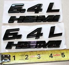 2 BLACK DODGE HEMI 6.4L ABS BADGE EMBLEMS MOPAR USA SELLER! CHALLENGER, CHARGER