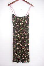 Carolina Herrera Brown Silk Pink Radish Print Spaghetti Strap Midi Dress Size 8