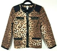 Chicos Womens Jacket Leopard Animal Print Beige Black Brown 1 Small