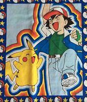 Vintage Pokemon Pikachu Ash Fabric Panel Cotton Blend Sheeting TM Sew Craft