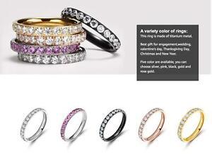 Free Engraving - Women Titanium Eternity Ring CZ Stones Wedding Engagement Band