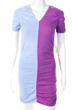 Victor glemaud Combo Feminino Manga Curta Mini Vestido Camisa Algodão Rosa Azul Xs