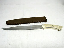 Handmade Antler Handle Tempered Steel Knife w/Handmade Leather Sheath