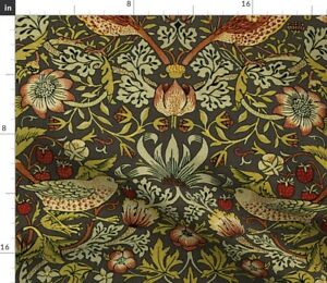 Strawberry Autumn Damask Classic Floral Bird Spoonflower Fabric by the Yard