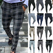 Men Pants Straight Slim Fit Skinny Casual Pencil Trousers Party Business Office