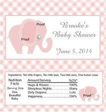15 Pink Elephant Baby Shower Candy Bar Wrappers