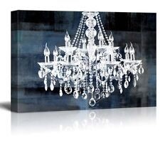 "Canvas - Crystal White Chandelier on Blue Abstract Vintage Background - 12""x18"""