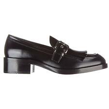 PRADA WOMEN'S LEATHER LOAFERS MOCCASINS NEW SPAZZOLATO FUMÈ BLACK 550
