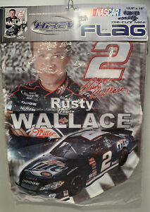 "NASCAR Hirev Die-Cut Rusty Wallace Mini Flag #2 Miller Lite 12.5"" x 18"" 2003 ""B"""