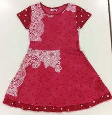 GIRLS DESIGUAL RED WITH WHITE LACE PATTERN DRESS BEAUTIFUL! Age 9-10 Yrs