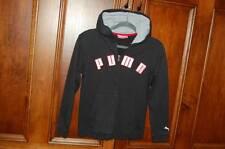 PUMA Black Hoodie Boy's M 8 Full Zipper Red White Letters Fall Spring Jacket GUC