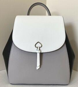 New Kate Spade New York Adel Medium Flap Backpack Leather Colorblock White multi