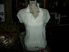 ANTHROPOLOGIE IPSA Dainty Crisp White Blouse Size 10