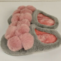 Damen Hausschuhe Pantoffeln Kunstpelz Grau Pantoletten Schuhe Hausschuhe