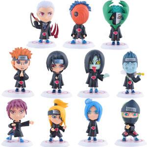 11 pcs Cute Naruto Akatsuki Figures Set Uchiha Itachi Sasuke Deidara Cake Topper