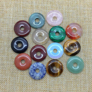 40mm Natural Crystal Gemstone Round Beads Donut Ring Pendant Necklace Earring