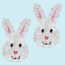 Easter Decorations Egg Hunt - 3D Tinsel Wall Plaque - 2 x White Bunny's