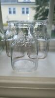 Set of 3 Vintage Half Pint Milk Bottle Hood's Dairy Hoods Massachusetts