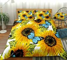 3D Watercolor Sunflower Butterfly Duvet Cover Queen Bed Quilt Cover Pillowcase