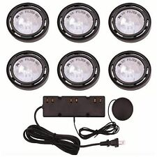 Kitchen Under Cabinet Display Light Lighting 6 Xenon Puck Lights Cord Kit 120v