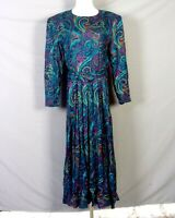 vtg 80s E.D. Michaels Busy Teal Magenta Paisley 100% Rayon Dress Belted 41 Bust