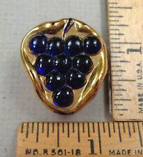 BIMINI GLASS BUTTON, 1900s Gold Luster, GRAPES Design, w/ Brass Back, Signed