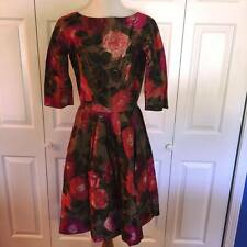 Beautiful Floral Print Full Skirt Swing Dress, 3/4 sleeves abt size 12-14 Wow!