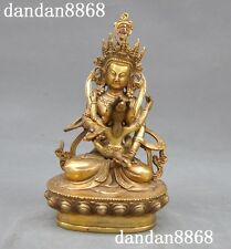 """7""""Old Chinese brass Buddhism temple Tara Kwan-Yin Guanyin Yab-Yum Buddha Statue"""