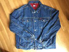 Vintage Tommy Hilfiger Mens Blue Denim Jean Jacket XL Flag Spell Out Logo RARE