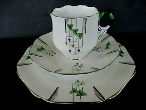 Art Deco Vintage China Tea Set Trio.Sutherland China.Hand Painted.1775.