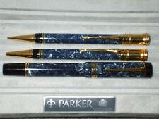 PARKER DUOFOLD BLUE MARBLE & GOLD TRIPLE PEN SET NEAR MINT!