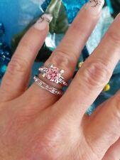 💖Pink Diamond Simulant Wedding Set, High Polished Titanium, Size 5