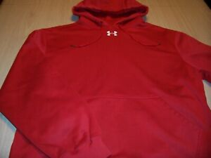 UNDER ARMOUR LONG SLEEVE RED HOODIE MENS LARGE EXCELLENT CONDITION