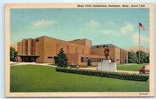 Mayo Civic Auditorium Rochester Minnesota US Flag Vintage Linen Postcard A84
