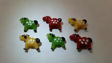 6 Colorful Red Yellow Green Horses Lampwork Glass Beads 27mm by 22mm animal